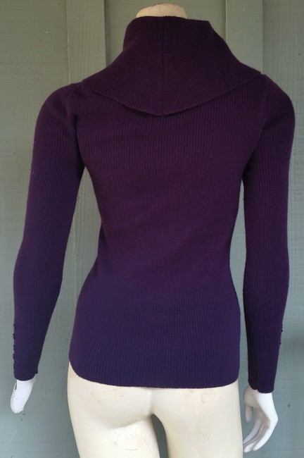 Marisa Christina Plum Eggplant Wool Merino Wool Turtleneck Sweater Image 2