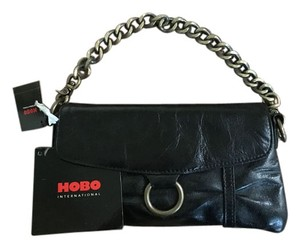 Hobo International Leather Metal Chain Black Clutch