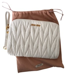 Miu Miu Clutch Wristlet in white