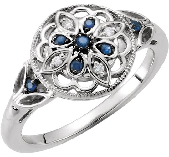 Other Vintage Inspired .925 Sterling Silver Blue Sapphire .03 cttw Diamond Ring