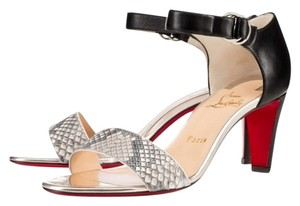 Christian Louboutin Redsole Black Leather with White Python Strap Sandals