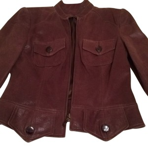 David Meister Leather Coat Leather Leather Blazer Coat Chestnut brown Leather Jacket
