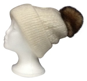 Other Warm Cashmere Knit Beanie Winter Hat With Natural Fox Fur Pom Pom