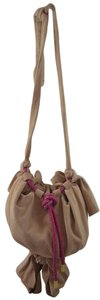 Zac Posen Pink Summer Suede Woven Cord Gold Hardware Bucket Soft Pretty Summer Shoulder Bag