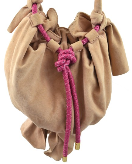 Zac Posen Pink Summer Suede Woven Cord Gold Hardware Bucket Soft Pretty Summer Shoulder Bag Image 1