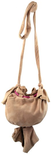 Zac Posen Pink Summer Suede Woven Cord Gold Hardware Bucket Soft Pretty Summer Shoulder Bag Image 3