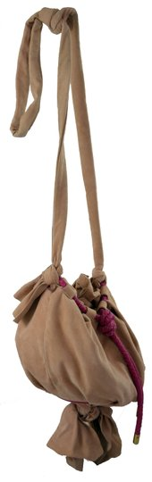 Zac Posen Pink Summer Suede Woven Cord Gold Hardware Bucket Soft Pretty Summer Shoulder Bag Image 4