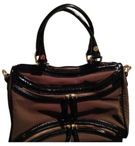 Treesje Satchel in Black & Chocolate Brown