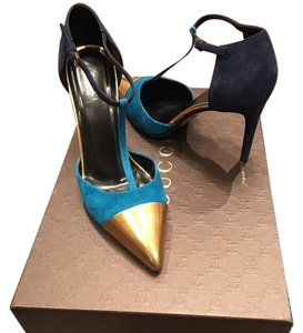 Gucci Blue and Gold Pumps