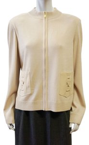 St. John Santana Zip Up Sweater Zip Up Zip Up Sweater Sweater Santana BEIGE Jacket