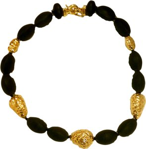 Joy Jewels Black Onyx Stones And Yellow Gold Nuggets 18K Necklace Choker By Joy Jewels 18.5