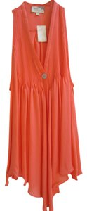 Elizabeth and James Silk Pin Tuck Detail Coral Halter Top