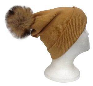 Winter Accrylic Beanie Hat With Natural Red Fox Fur Pom Pom One Size Fits All