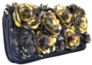 Flower Diamond Clutch Embellished Cocktail Stones Leather Black and Gold Clutch