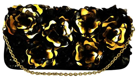 Flower Diamond Clutch Embellished Cocktail Stones Leather Black and Gold Clutch Image 1