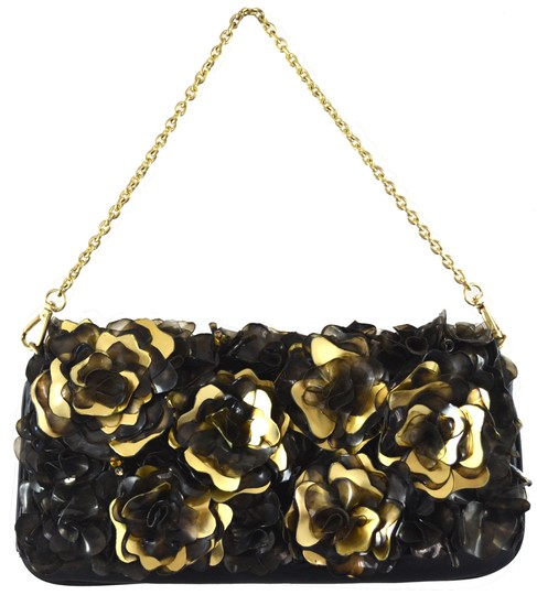 Flower Diamond Clutch Embellished Cocktail Stones Leather Black and Gold Clutch Image 2