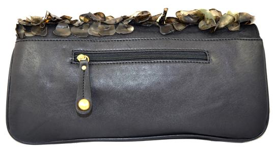 Flower Diamond Clutch Embellished Cocktail Stones Leather Black and Gold Clutch Image 3