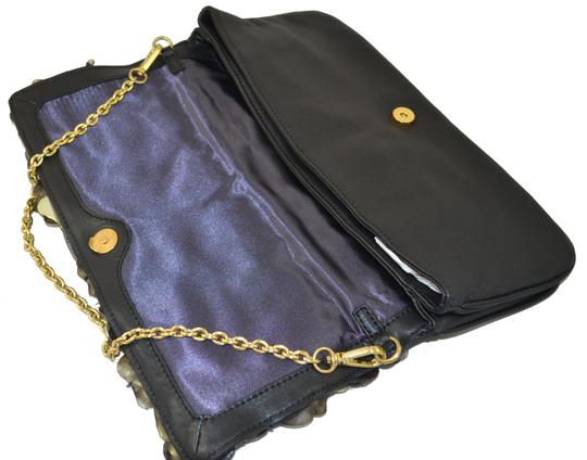 Flower Diamond Clutch Embellished Cocktail Stones Leather Black and Gold Clutch Image 5
