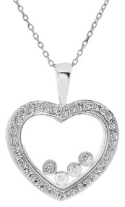 Avital & Co Jewelry Round Brilliant 0.50 Carat Diamond Heart Pendant 18k White Gold