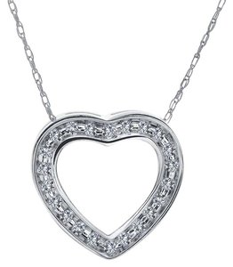 Avital & Co Jewelry 0.25 Carat Round Diamond Heart Slider Pendant on Cable Chain 14K WG