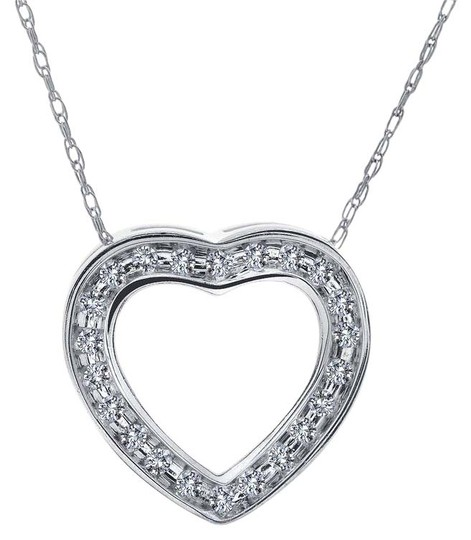 Preload https://img-static.tradesy.com/item/11018113/avital-and-co-jewelry-14k-white-gold-025-carat-round-diamond-heart-slider-pendant-chain-wg-necklace-0-2-540-540.jpg