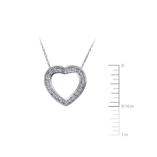 Avital & Co Jewelry 0.25 Carat Round Diamond Heart Slider Pendant on Cable Chain 14K WG Image 1