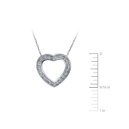 Avital & Co Jewelry 0.25 Carat Round Diamond Heart Slider Pendant on Cable Chain 14K WG Image 2
