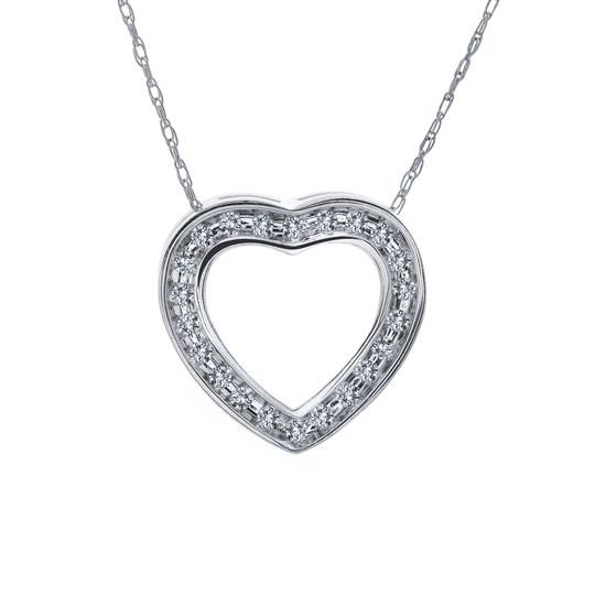 Avital & Co Jewelry 0.25 Carat Round Diamond Heart Slider Pendant on Cable Chain 14K WG Image 3