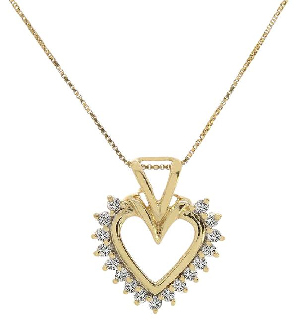 Avital & Co Jewelry 14k Yellow Gold Box 0.15 Ct Round Diamond Heart Pendant On Link Chain Necklace Avital & Co Jewelry 14k Yellow Gold Box 0.15 Ct Round Diamond Heart Pendant On Link Chain Necklace Image 1