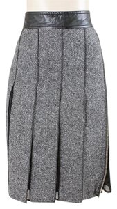 Sportmax Leather Tweed Pleated Skirt Grey, Black, White