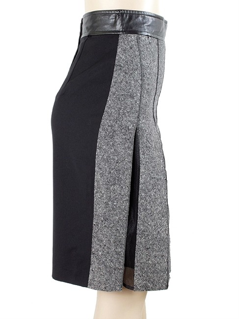 Sportmax Leather Tweed Pleated Pencil Two-tone Color-blocking Skirt Grey, Black, White