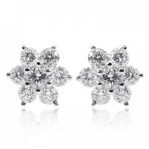 Avital & Co Jewelry 1.50 Carat Diamond Flower Earrings 18k White Gold