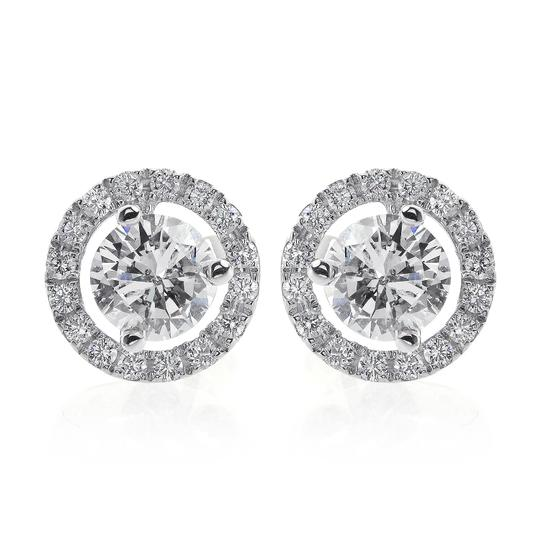 Avital & Co Jewelry 1.28 Carat Diamond Halo Pave Earrings 18k White Gold Image 2