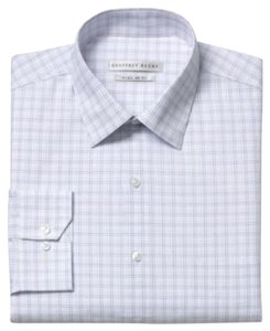 Geoffrey Beene In Package Sz Reg Button Down Shirt 15 32/33 WHITE W BROWN & BLUE LINES FOR CHECKS