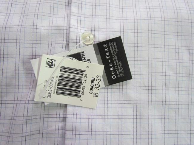 Geoffrey Beene New In Package Reg Slv 32/33 Button Down Shirt 15 32/33 WHITE W BROWN & BLUE LINES FOR CHECKS Image 1