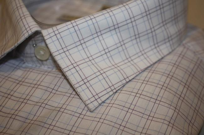 Geoffrey Beene New In Package Reg Slv 32/33 Button Down Shirt 15 32/33 WHITE W BROWN & BLUE LINES FOR CHECKS Image 2