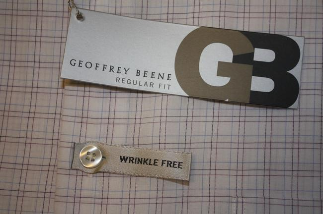 Geoffrey Beene New In Package Reg Slv 32/33 Button Down Shirt 15 32/33 WHITE W BROWN & BLUE LINES FOR CHECKS Image 4