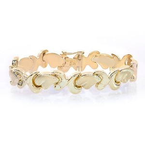 12.4mm Ladies 14k Yellow Gold Hearts And Hugs Bracelet