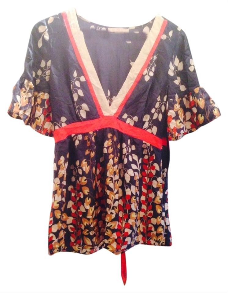 e5db3c2ddcfc1 Anthropologie Navy Red & Neutrals Hype Silk Ivy Kimono Tunic Size 8 ...