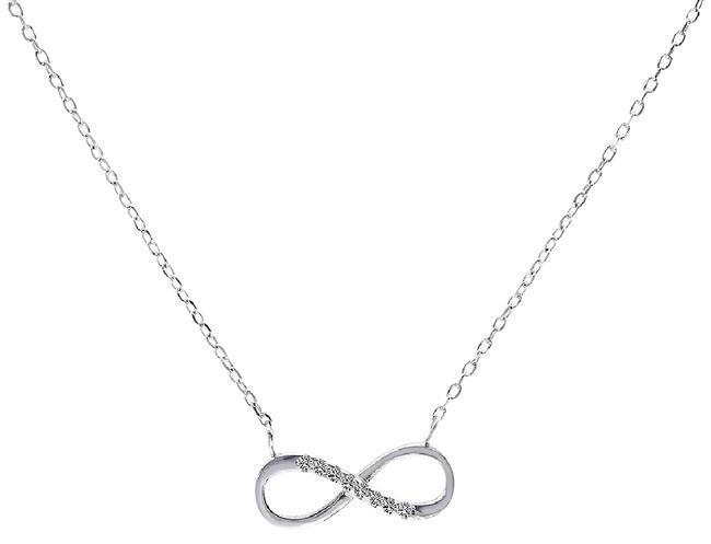 Avital & Co Jewelry Silver 0.10 Carat Look Infinity Pendant In Sterling and Cubic Zirconia Necklace Avital & Co Jewelry Silver 0.10 Carat Look Infinity Pendant In Sterling and Cubic Zirconia Necklace Image 1