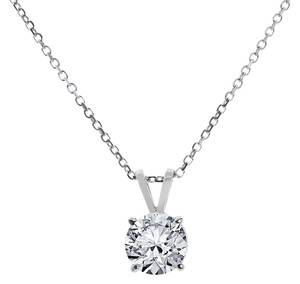Avital & Co Jewelry 1.25ct Round Cut Solid 14k WG Solitaire Pendant 16in Necklace Chain
