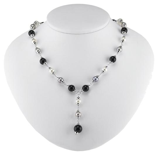 """Other """"Little Black Strand"""" Sterling Silver Y-Style Cable Necklace with Freshwater Cultured Pearls and Onyx Beads, Adjustable by BrianG"""