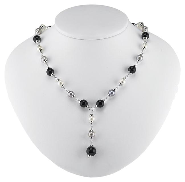 """Silver Black Gray """"Little Strand"""" Sterling Y-style Cable with Freshwater Cultured Pearls and Onyx Beads Adjustable Necklace Silver Black Gray """"Little Strand"""" Sterling Y-style Cable with Freshwater Cultured Pearls and Onyx Beads Adjustable Necklace Image 1"""