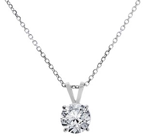 Avital & Co Jewelry 1.00ct Round Cut 14k WG Solitaire Pendant 18in Necklace With Chain