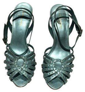 BCBGMAXAZRIA Aqua Metallic Leather Strappy Studded Aqua, blue-green Sandals