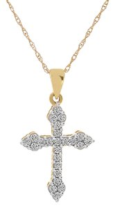 Avital & Co Jewelry 0.25 Carat Diamond Cross Pendant 14k Yellow Gold