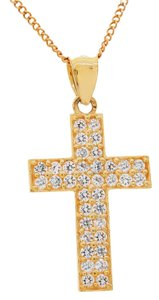 Avital & Co Jewelry 0.72 Carat Cross Pendant Cz 14k Yellow Gold
