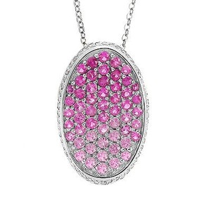 Avital & Co Jewelry 0.45 Carat Diamond And Fading Pink Sapphire Pendant 14k White Gold