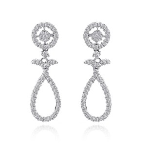 1.25 Carat Round Brilliant Cut Diamond Drop Earrings 14k White Gold