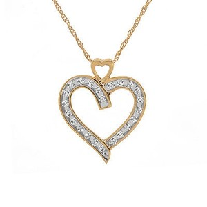 Avital & Co Jewelry 0.25 Carat Brilliant Diamond Heart Pendant 14k Yellow Gold